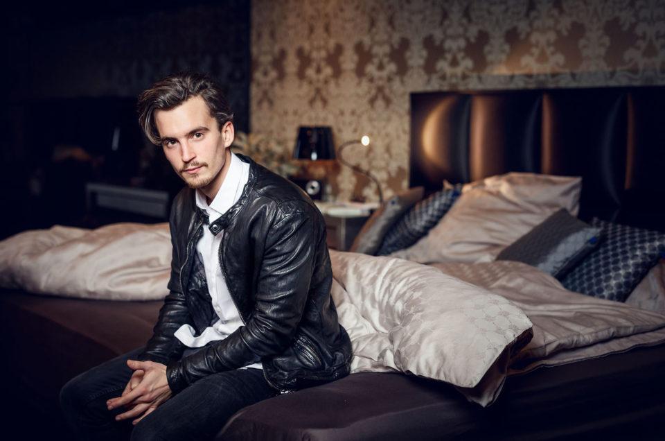 Felix on a bed